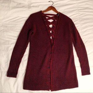 Knit Maroon/Navy Blue Long Cardigan